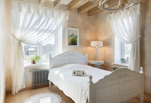 Shabby Chic Master Bedroom With Paneled Ceiling And Hardwood FloorPhoto By