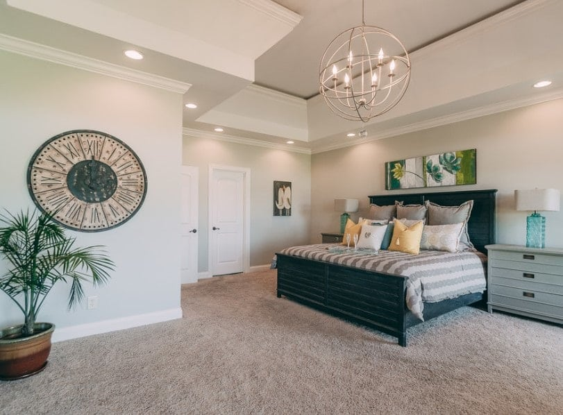 A spacious primary bedroom featuring a custom ceiling and thick carpet flooring. It offers a large comfy bed lighted by a charming ceiling light.
