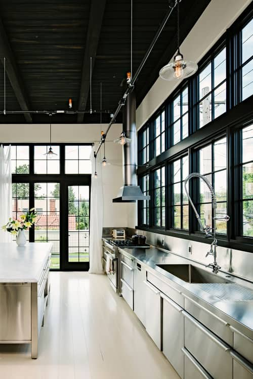 Kitchen Lighting Regulations 40 industrial kitchen ideas for 2018 industrial silver kitchen with built in shelving and recessed ceiling lights together with glass dooroto by eilmann architekt search kitchen pictures workwithnaturefo
