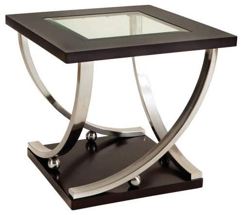 Standard furniture melrose square glass-top end table with stylish sweeping lines and geometric forms.