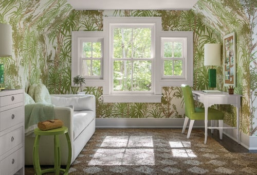 Small Tropical Home Office With Palm Trees Motif Interior Wallpaper,  Windows Carpet Flooring And A