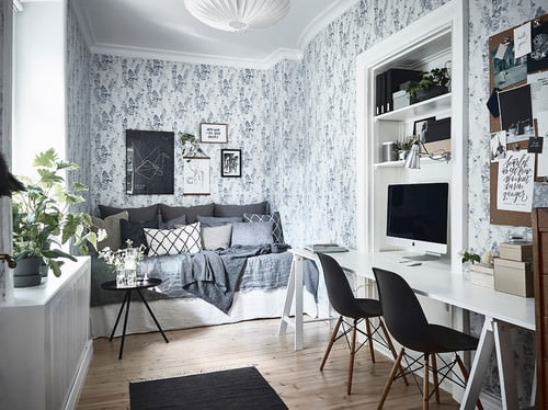 Victorian home office with a stylish wall design and built-in desk and shelving.Photo by Entrance Fastighetsmäkleri - Discover home office design ... & 350 Home Office Ideas for 2018 (Pictures) azcodes.com