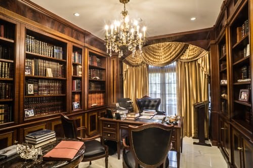 ... With A Large Book Shelf And Grand Looking Chandelier Along With Golden  Window Curtain.Photo By Bizdesigns   Look For Home Office Design Inspiration