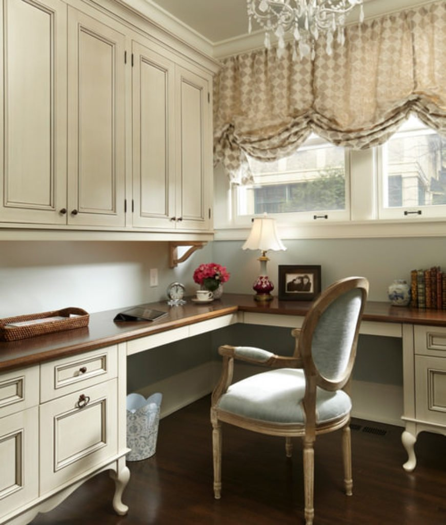 Victorian pure white home office with laminated flooring and built-in cabinet.