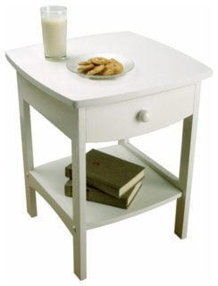 Contemporary white winsome curved nightstand with a solid wood material and a single drawer.