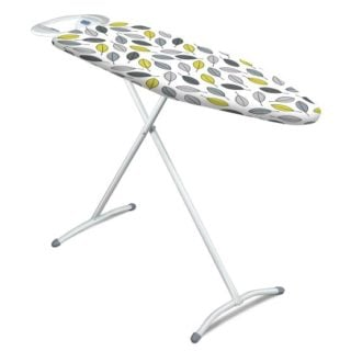 Ironing board with an infinite height adjustment in a creative leaf pattern.