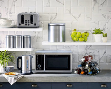 Kitchen with small microwave oven