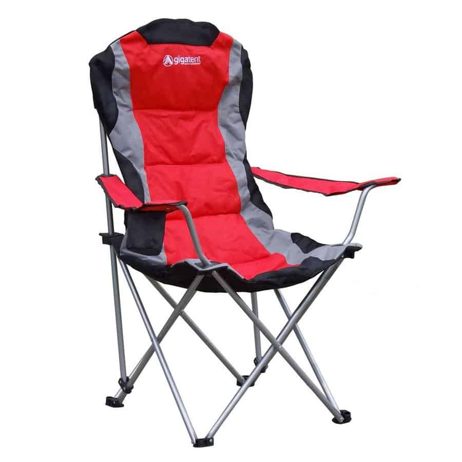 Red steel folding camping chair.