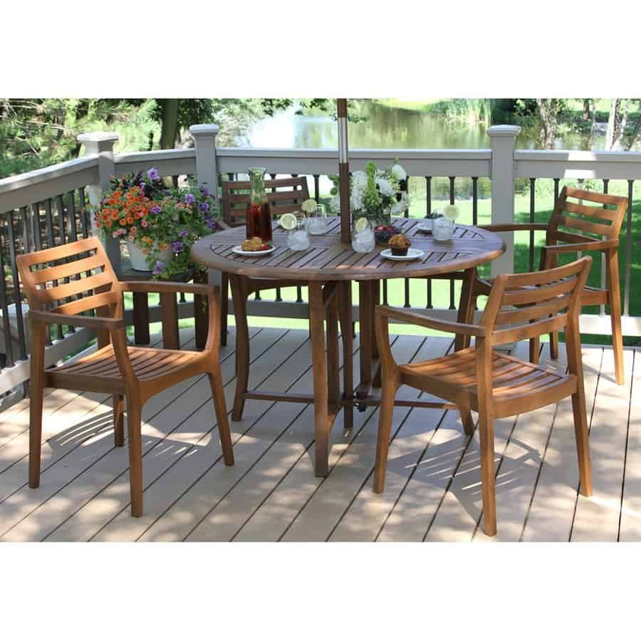 Round wooden patio table.