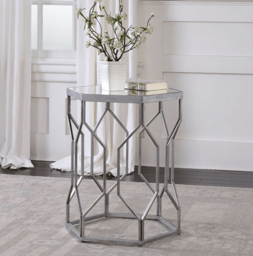 Compact metal accent table