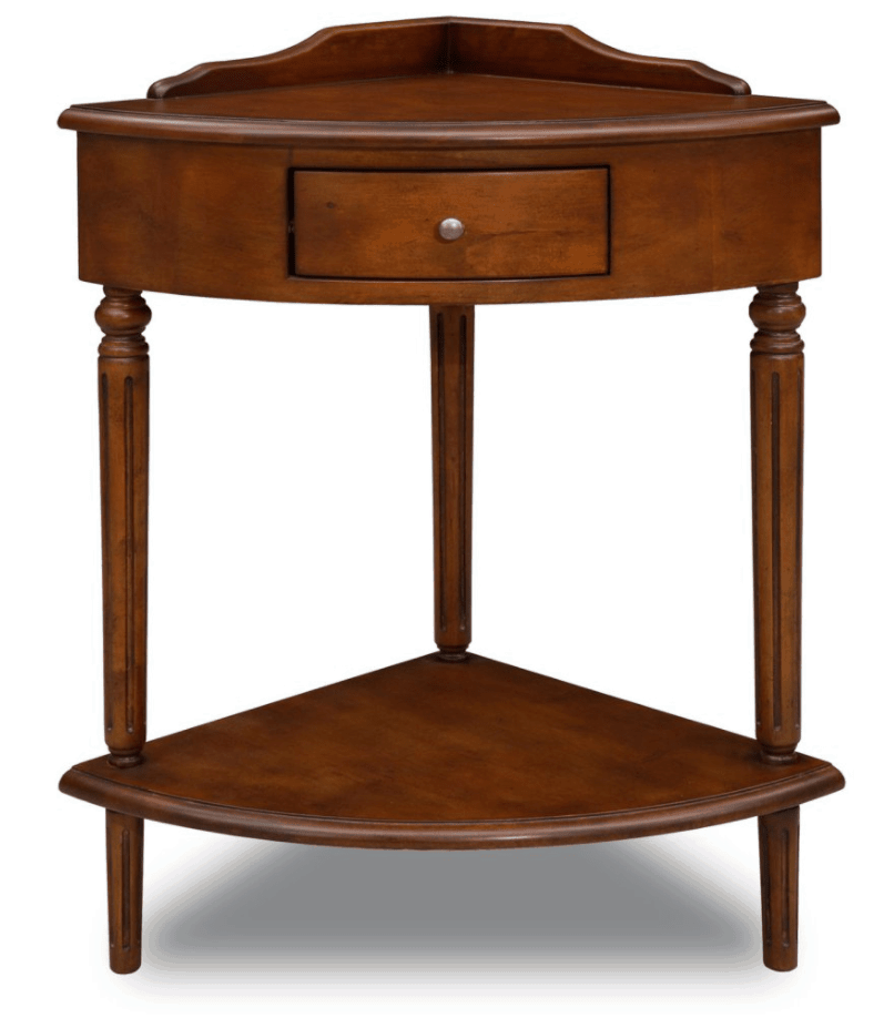Small corner accent table with a drawer and lower shelf.