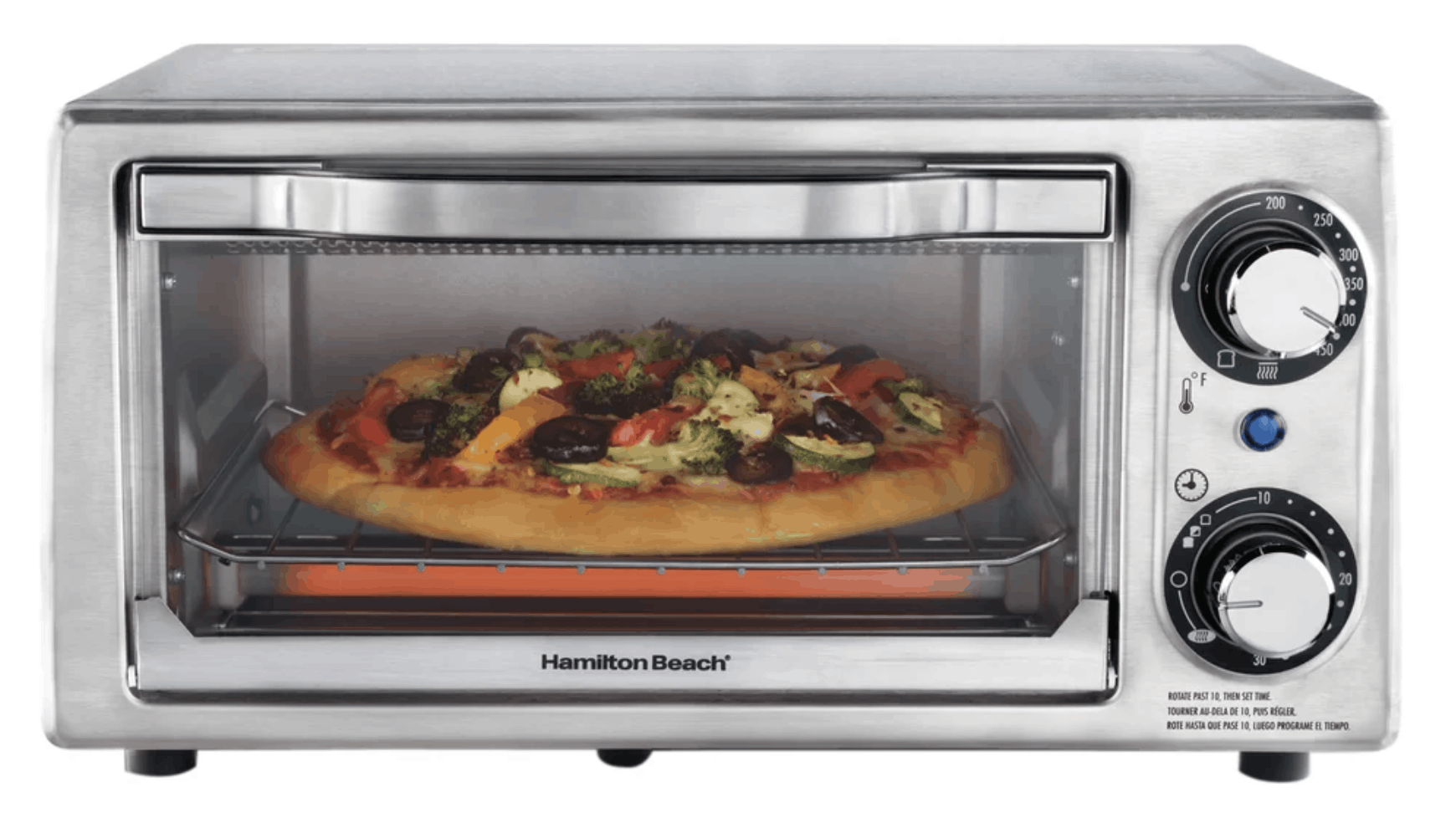 Narrow stainless steel toaster oven by Hamilton Beach
