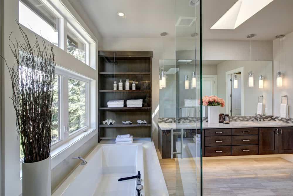 Master Bathroom Designs master bathroom photos A Large Master Bathroom With Hardwood Floor And Built In Shelving