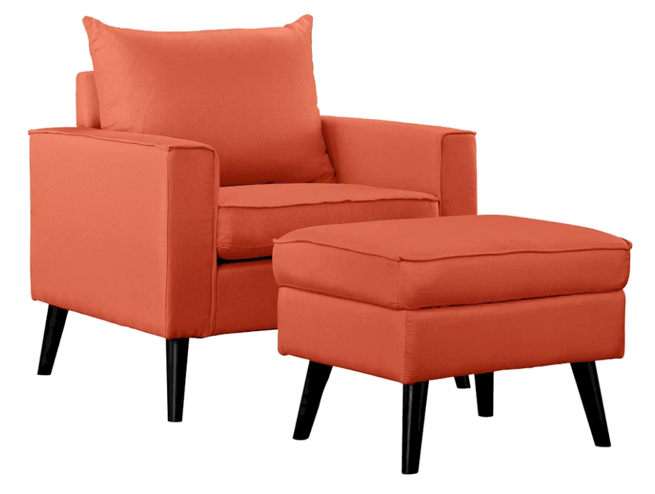 Bright orange comfortable accent chair with footrest.