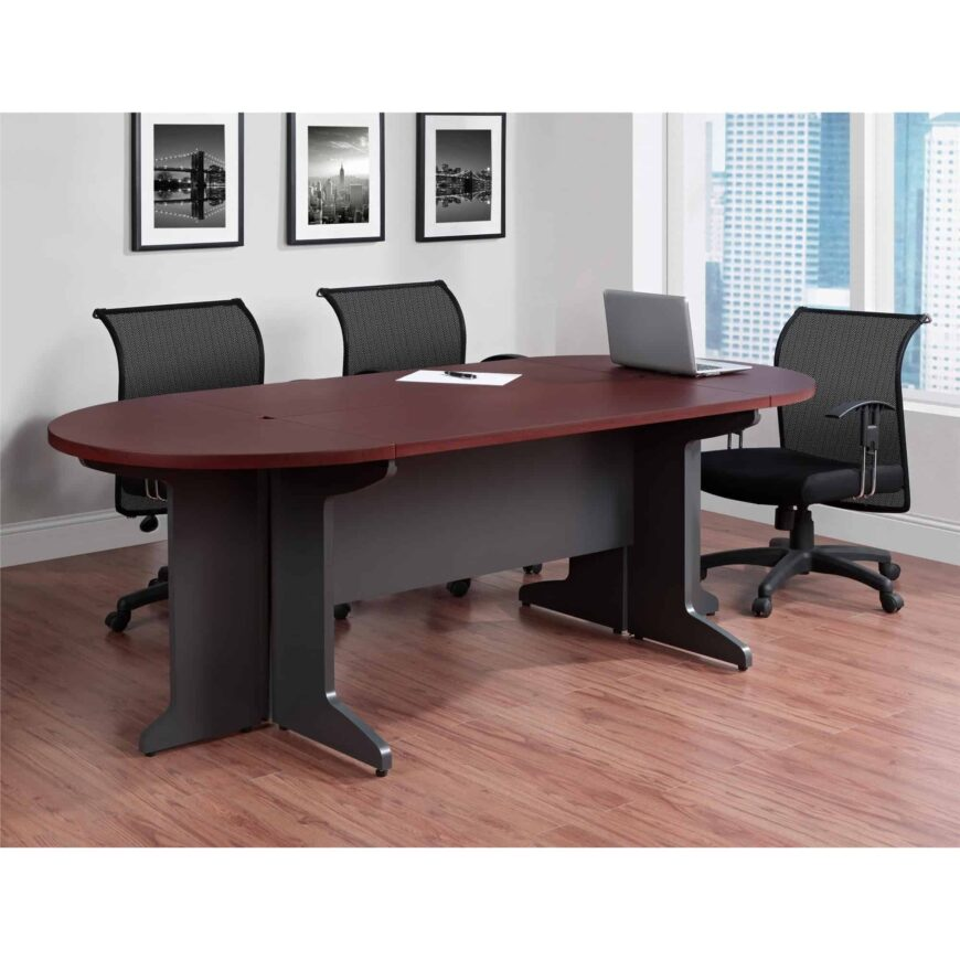 Elegant looking small redwood colored conference table.