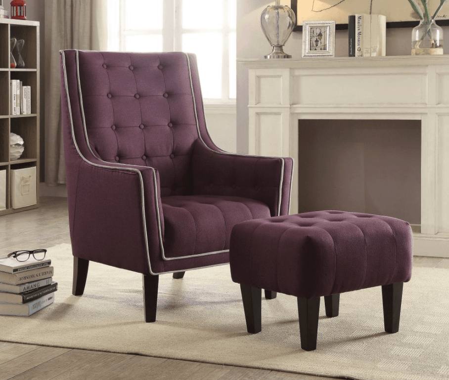 Regal Purple Accent Chair With Tufted Ottoman