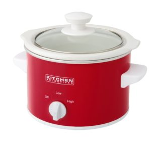 Red mini 1.5 quart slow cooker by Kitchen Selectives