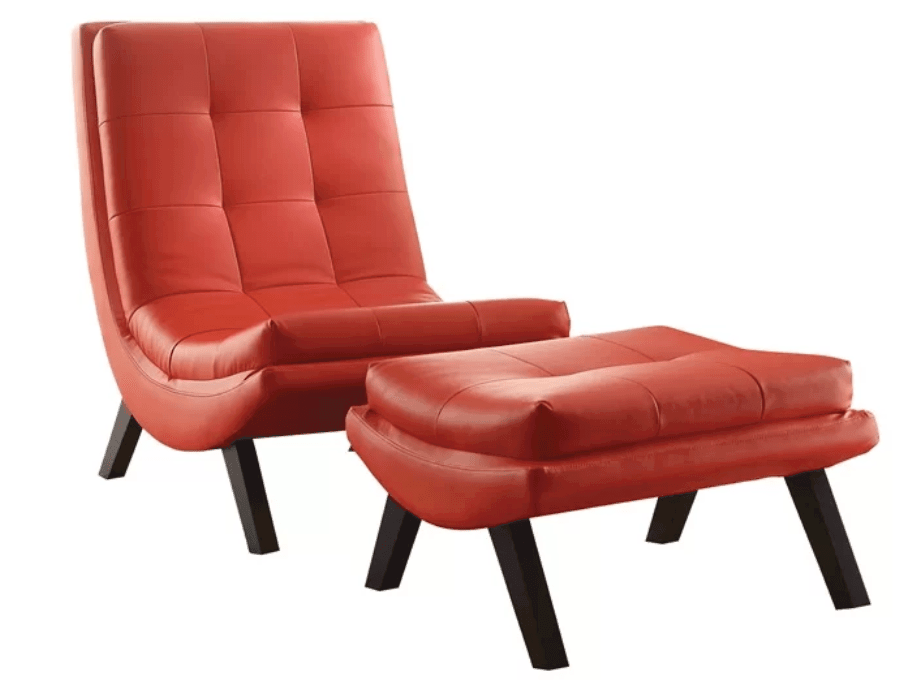 Red Leather Accent Chair Without Arms With Matching Ottoman.