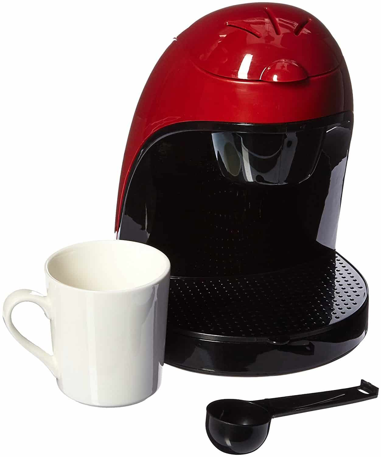 Compact Modern Looking Black And Red Single Serve Coffee Maker By Bwood