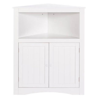 Wooden cabinet in a clean white finish.