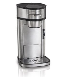 Stainless steel regular grinds single serve coffee maker by Hamilton Beach