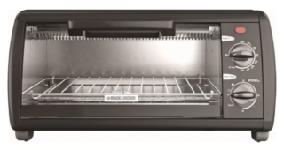 Sleek Black & Decker toaster oven in black