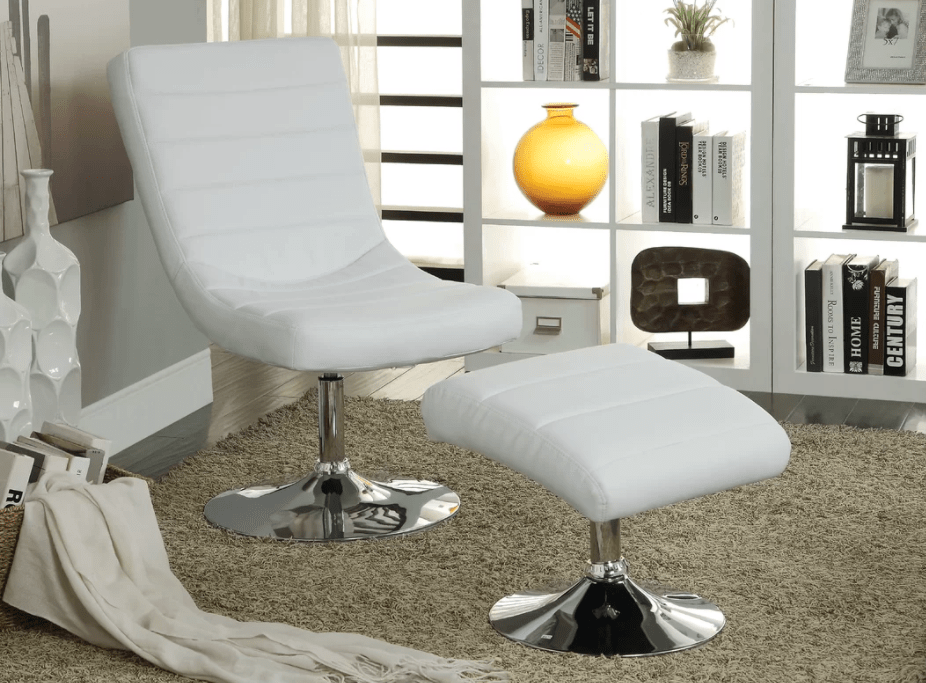 Small white accent chair without arms and matching chrome and white ottoman.