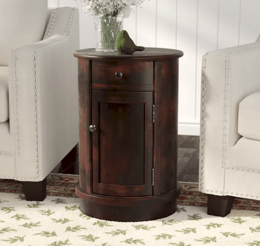 Small Round Accent Table With Storage