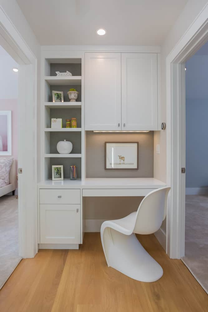Here's a great design in between bedrooms. This is a jack and jill home office which is cool by fitting it in a small thoroughfare space between two bedrooms.