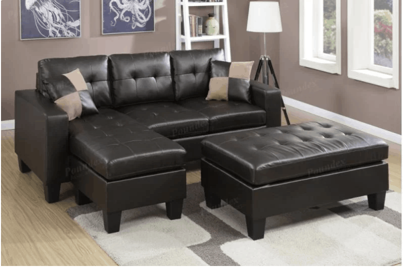 Space-saving leather sectional sofa