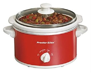 Compact red and white slow cooker by Proctor Silex
