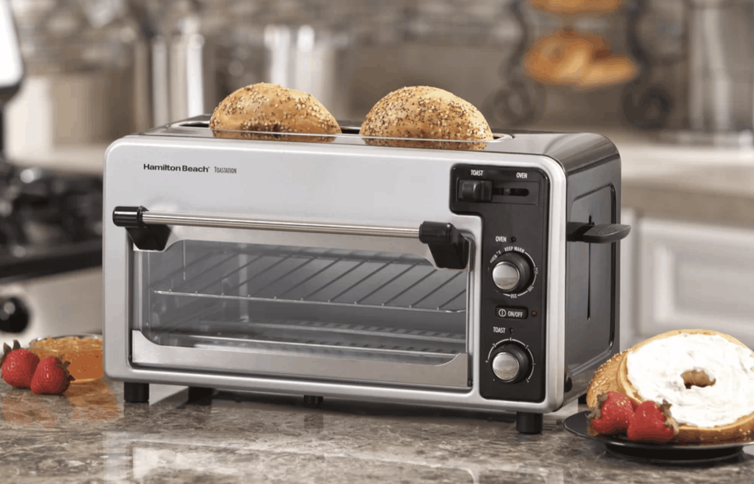 Small toaster oven and toaster combo by Hamilton Beach