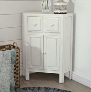 White corner cabinet with a convenient storage and a charming interface.