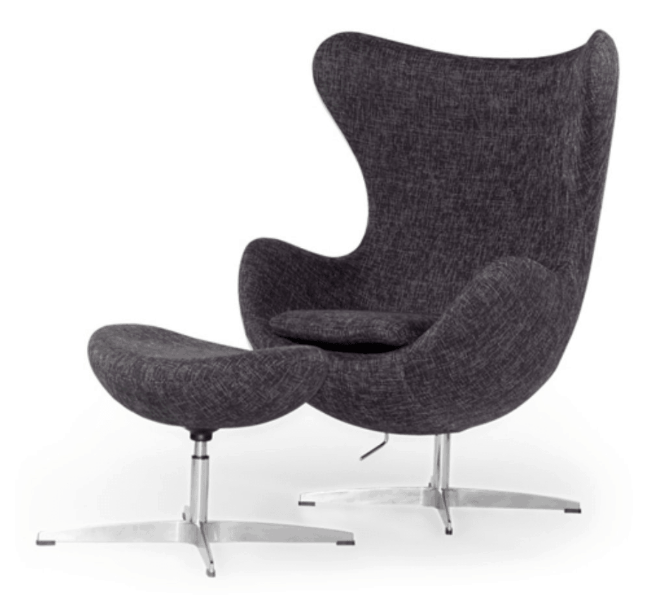Stylish grey swivel accent chair and ottoman.