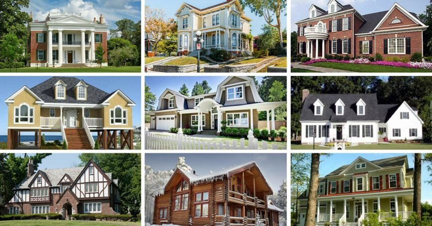 Collage of different house architectural styles