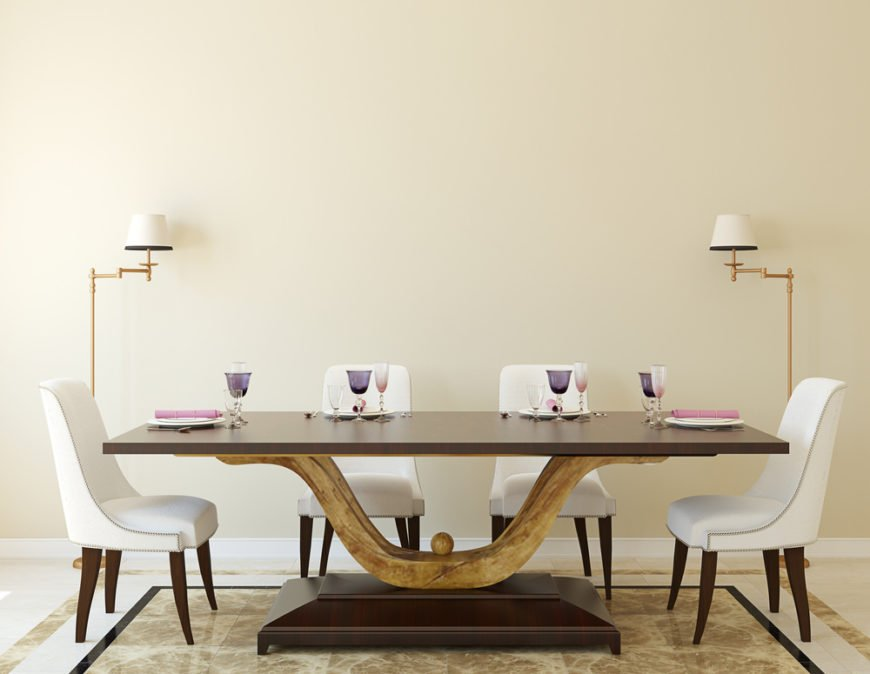 Custom modern pedestal base dining room table.