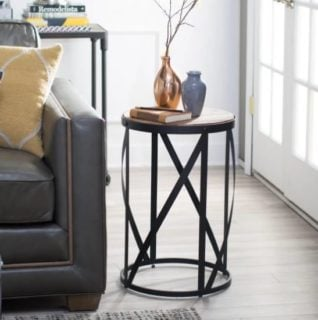 Belham Living Allen Reclaimed Wood Drum Side Table with robust steel frame.