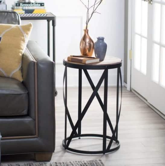 Belham Living Allen Reclaimed Wood Drum Side Table with robust steel frame.