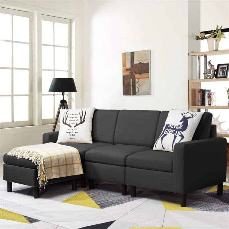 The Jasmina Wide Reversible Sofa and Chaise with Ottoman from Wayfair.