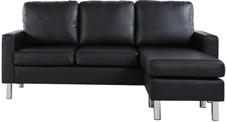 The Ralph Faux Leather Reversible Sofa and Chaise with Ottoman from Wayfair.