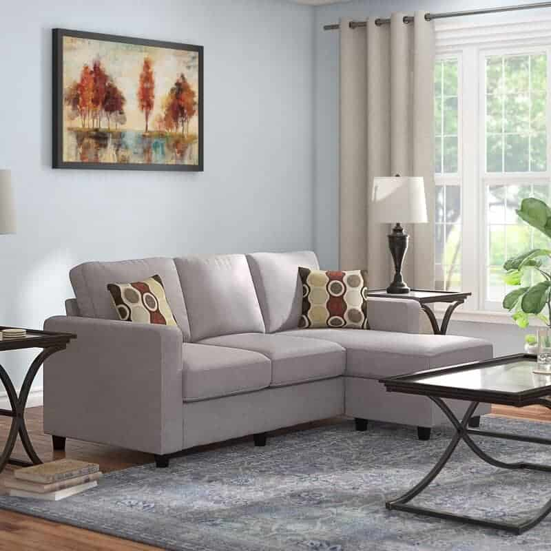 The Sylvette Wide Reversible Sofa and Chaise with Ottoman from Wayfair.