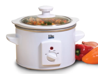 Elite white compact slow cooker
