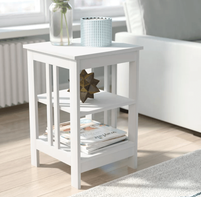 White square accent table with shevles