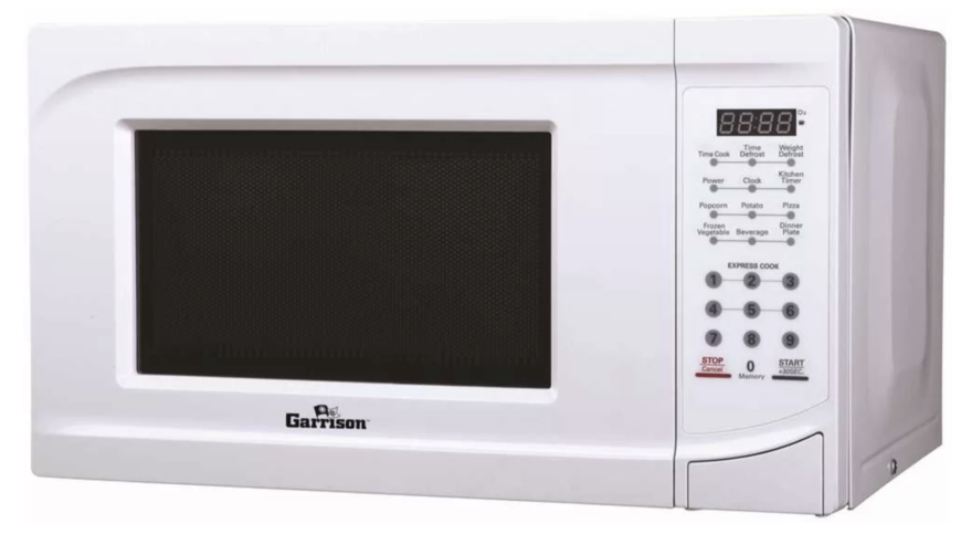 Small white microwave with express cook feature by Garrison