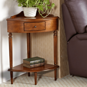 Compact wood corner accent table.