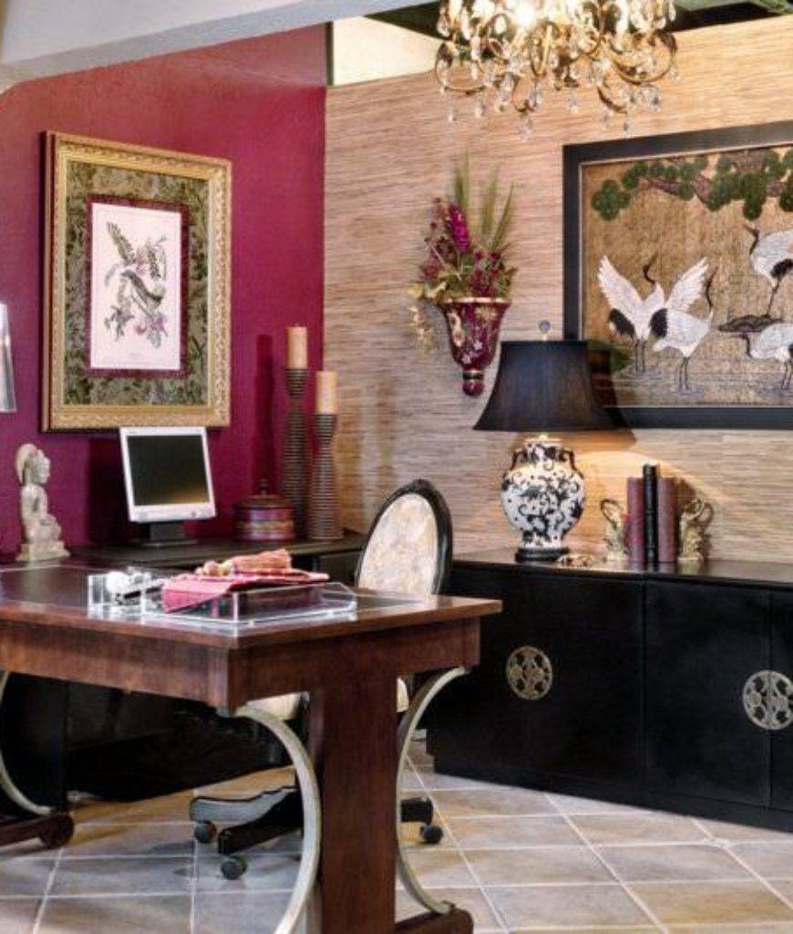 Asian home office with tiled floor and chandelier.