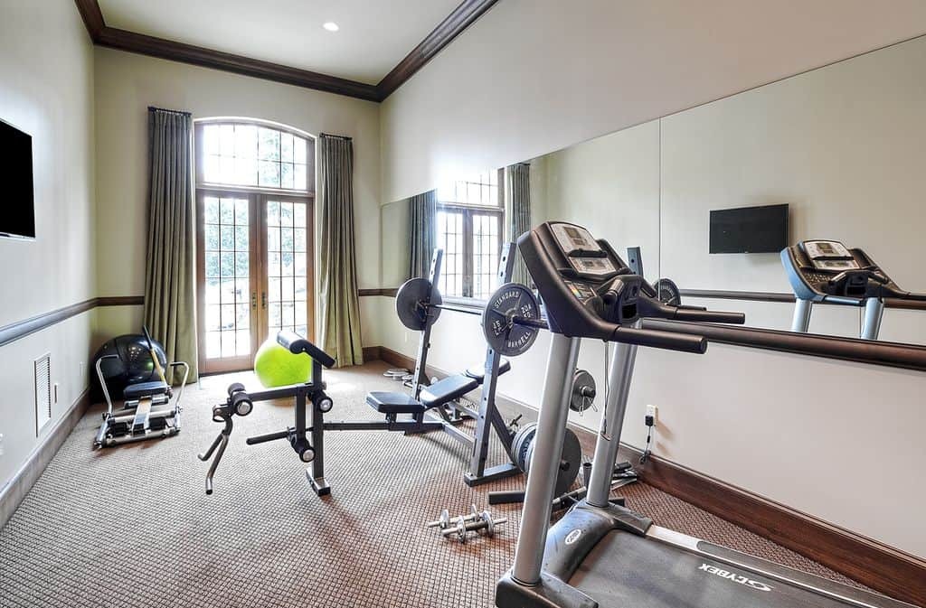 home gym interior design. Traditional home gym with carpeted floor  Source Zillow Digs 44 Home Gym Design Ideas for 2017