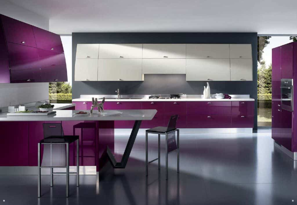 Contemporary Purple Kitchen With Breakfast Counter