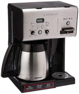 Thermal programmable coffee maker with self clean and brew pause features.