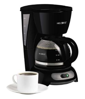 4-cup switch coffee maker with grab-a-cup auto pause system and dual water window.
